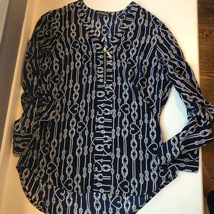 Nautical print zip front blouse